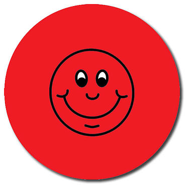 Personalised Smile Stickers - Red (35 per sheet - 37mm)