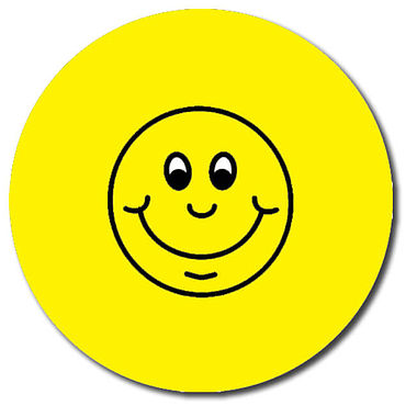 Personalised Smile Stickers - Yellow (35 per sheet - 37mm)