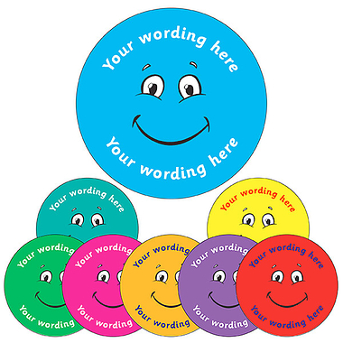 Customised Smiley Face Stickers (70 per sheet - 25mm)