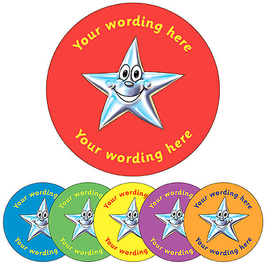 Personalised Star Stickers (35 per sheet - 37mm)