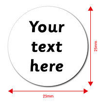 Personalised Text Only 25mm Stickers x 70