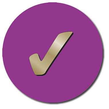 Personalised Tick Stickers - Purple (35 per sheet - 37mm)