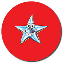 Sheet of 35 Personalised 37mm Red Star Stickers