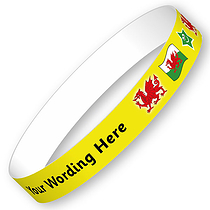 Sheet of 5 Personalised Welsh Flag Adhesive Wristbands