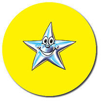 Sheet of 35 Personalised 37mm Yellow Star Stickers