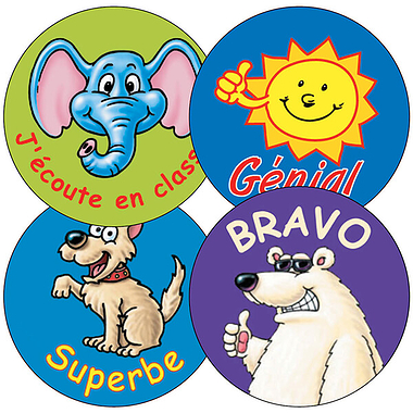 Sheet of 35 Mixed French 37mm Circular Stickers