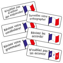 Sheet of 16 Mixed French Phrases 59mm x 20mm Stickers