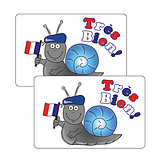 Sheet of 32 French Tres Bien 46mm x 30mm Stickers