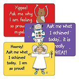 Sheet of 32 Mixed Pedagogs 46mm x 30mm Ask Me Stickers