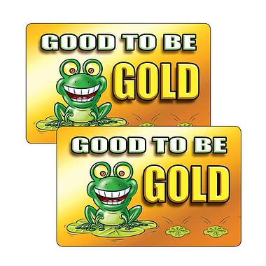Sheet of 32 Good To Be Gold 46mm x 30mm Stickers