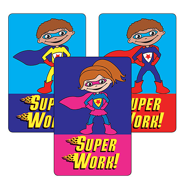 Super Work Superhero Stickers (32 Stickers - 46mm x 30mm)