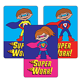 Sheet of 32 Mixed Super Work Superhero 46mm x 30mm Stickers