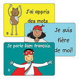 Sheet of 32 Mixed Pedagogs French 46mm x 30mm Stickers