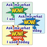 Sheet of 32 Ask Me What WOW Word I Used Today Stickers