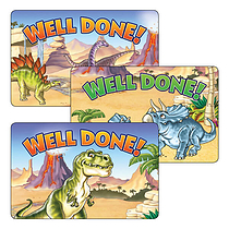 Well Done Stickers - Dinosaurs (32 per sheet - 46mm x 30mm)