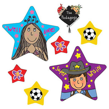 Sheet of 27 Pedagogs Star Shaped Stickers