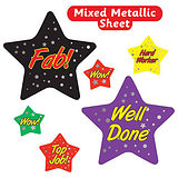 Sheet of 27 Metallic Star Shaped Stickers in Mixed Sizes