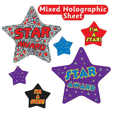 Sheet of 27 Holographic Star Shaped Stickers in Mixed Sizes