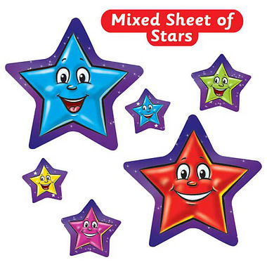Sheet of 27 Star Shaped Smiley Stickers in Mixed Sizes