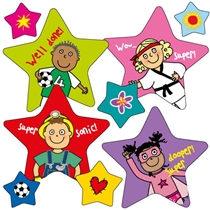 Sheet of 36 Pedagogs Star/Circle Stickers
