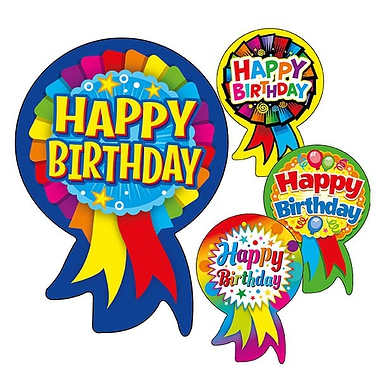 Happy Birthday Rosette Stickers (25 Stickers - 54mm x 37mm) Brainwaves