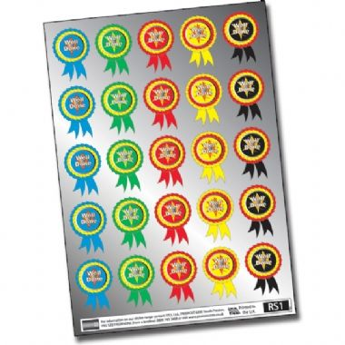Rosette Well Done Mixed Metallic 54mm x 37mm Stickers x 25