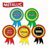 Rosette Shaped Mixed Metallic 54mm x 37mm Stickers x 25