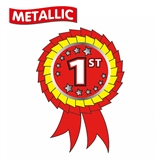 Metallic 1st Place Rosette Stickers (25 Stickers - 54mm x 37mm)