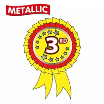 25 Rosette Shaped Third Metallic 54mm x 37mm Stickers