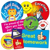 55 Mixed Homework Stickers in Various Shapes & Sizes