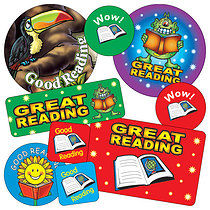 Sheet of 55 Mixed Reading Stickers in Various Shapes & Sizes