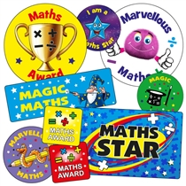 Sheet of 55 Mixed Maths Stickers in Various Shapes & Sizes