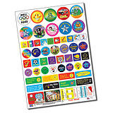 Sheet of 55 Mixed Stickers in Various Shapes & Sizes