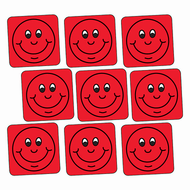 Sheet of 140 Red Smiley 16mm Square Stickers
