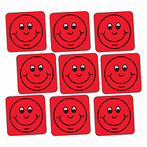Red Smiley Stickers - Square (140 Stickers - 16mm)