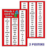 Set of 3 A2 Initial High Frequency Key Words Paper Posters