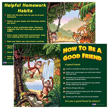 A2 Friendship & Homework Habits Double Sided Paper Poster