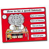How to Listen Good Habits Poster (A2)
