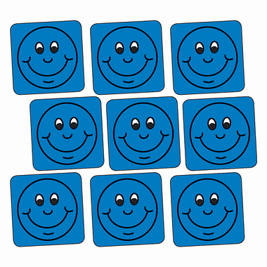 Sheet of 140 Blue Smiley 16mm Square Stickers
