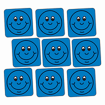 Blue Smiley Stickers - Square (140 Stickers - 16mm)