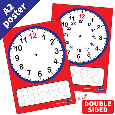 A2 Glossy Wipe-Clean 24 Hour Clock Poster