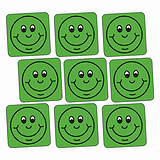 Sheet of 140 Green Smiley 16mm Square Stickers