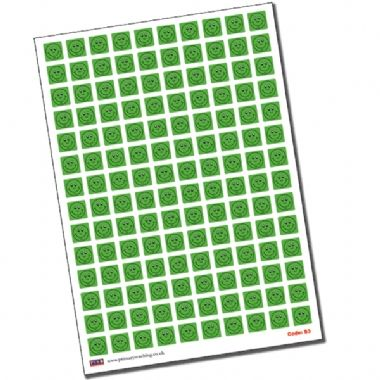 Green Smiley Stickers - Square (140 Stickers - 16mm)