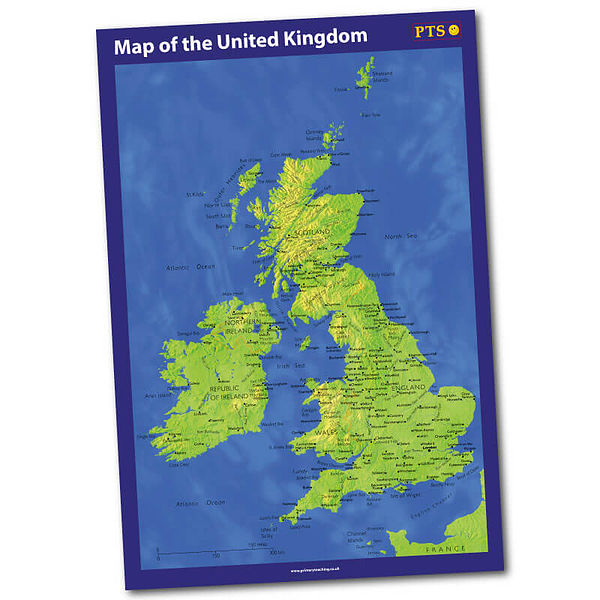 Zoom In Map Of Uk.Map Of The United Kingdom Poster A2 Class Display