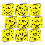 Sheet of 140 Yellow Smiley 16mm Square Stickers