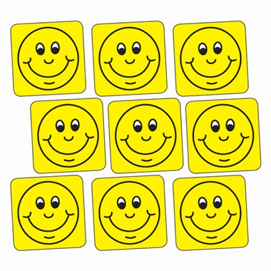 Yellow Smiley Stickers - Square (140 Stickers - 16mm)