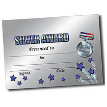 Personalised A5 Silver Award Certificates