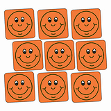 Orange Smiley Stickers - Square (140 Stickers - 16mm)
