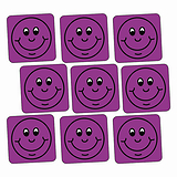 Sheet of 140 Purple Smiley 16mm Square Stickers