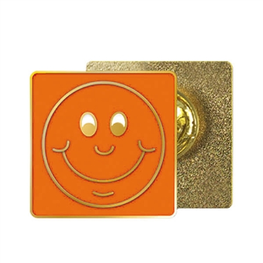 Orange Smile Enamel Badge (20mm x 20mm)